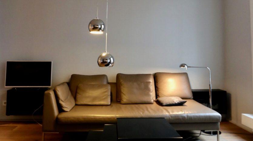 Coin salon moderne avec canapé en cuir